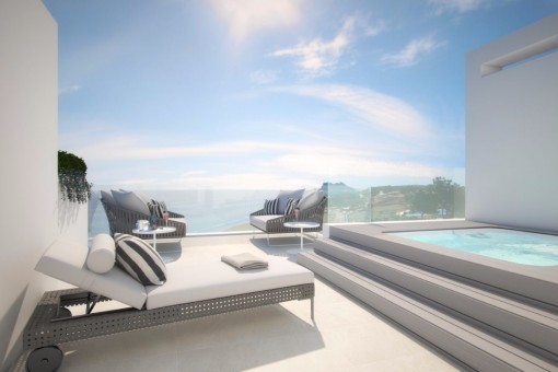 Moderne, Luxus Häuser in erste Strandlinie
