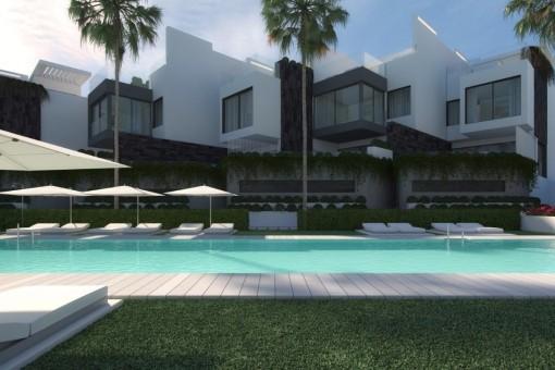 Stilvolle, Luxushäuser in erste Strandlinie