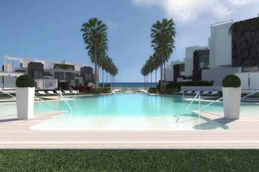 Moderne Häuser in erste Strandline,direkt am Meer