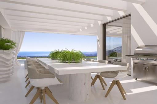 Die paradiesische, überdachte Terrasse mit Barbecue Bereich
