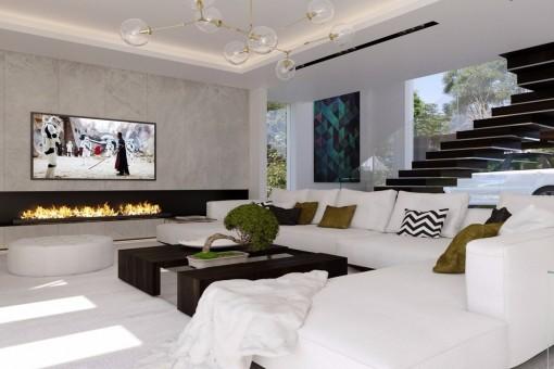 Der edle Wohn- und Essbereich mit luxuriösem Interieur