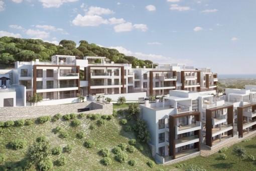 Luxus Wohnungen mit Panoramaussicht auf Golf, Meer und Berge, Benahavis