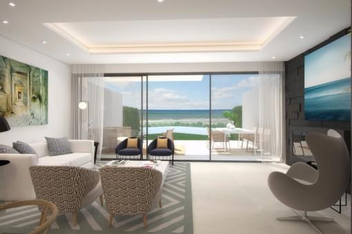 Moderne, Luxus-Dorfhäuser in erste Strandlinie in Estepona