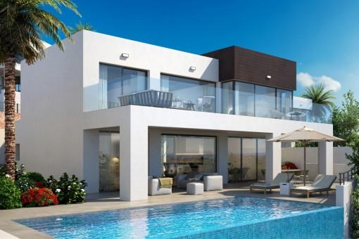 Die Frontansicht der Villa