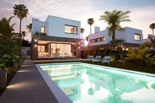 NEUBAU Villa mit eigenem Pool, Garten und 2 Parkplätzen. Traumhafte Lage unverbaubarer Meerblick