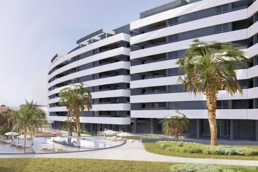 Modernes Stadtleben in der Innenstadt von Málaga