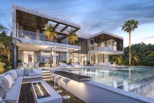 Villa California in La Alqueria, Benahavis mit unglaublicher Aussicht auf das Mittelmeer