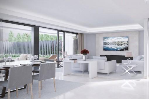 Moderner Wohnbereich mit Zugang zum Außenbereich