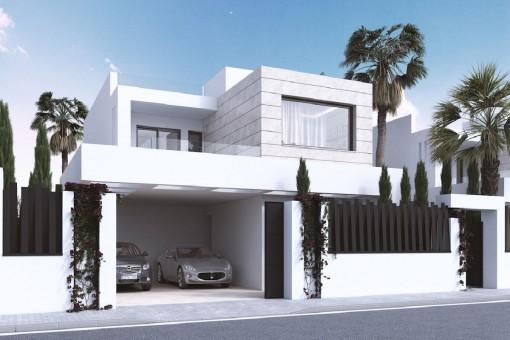 Außenansicht der Villa mit Garage