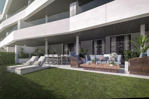 Moderne und großräumige Erdgeschoss-Apartments in Estepona