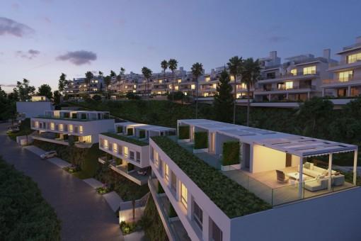 Stadthaus in einer Off-Plan Wohnanlage mit 24 Stunden Sicherheit mit herrlicher Aussicht in Estepona