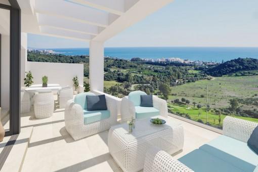 Erdgeschosswohnung in Estepona mit atemberaubendem Panoramablick