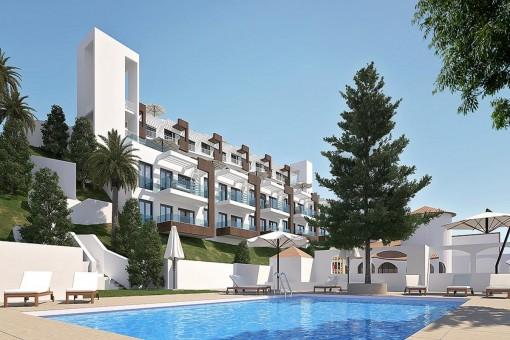 Neue Wohnungen mit Gemeinschaftspool und Gärten in Strandnähe in Benajarafe / Málaga