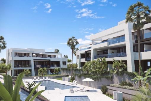 Neubauprojekt, 3 Schlafzimmer-Erdgeschosswohnung in modernem Design an der New Golden Mile, Estepona