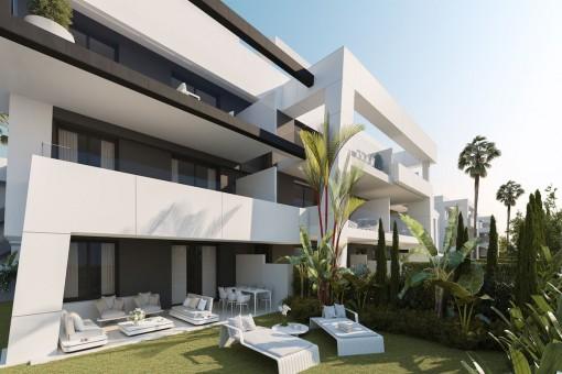 Moderne Off-Plan Bauprojekt mit einer Erdgeschosswohnung von 3 Schlafzimmern an der New Golden Mile
