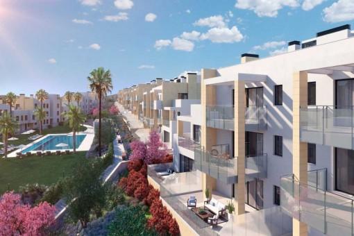 Brandneue Dachgeschoss-Wohnung mit Panorama-Meerblick in einer abgesicherten Wohnanlage in Casares