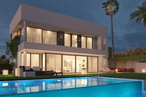Geräumige Familienvilla in Strandnähe mit Panoramablick auf das Meer in Estepona
