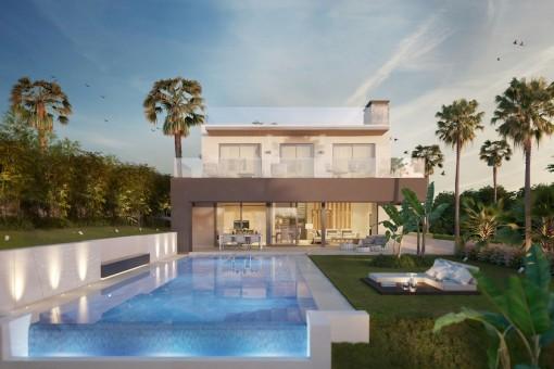 Ökologisches und zeitloses Villa-Bauprojekt mit 6 Schlafzimmern in der Nähe von Puerto Banus, Marbella