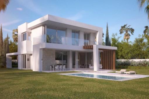 Großartige Neubauvilla mit 4 Schlafzimmern in einem Golfplatz Resort in Marbella Ost