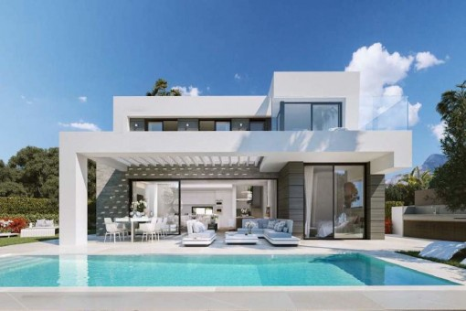 Moderne Villa mit beeindruckenden Meerblick am Cabopino Golfplatz nahe Marbella