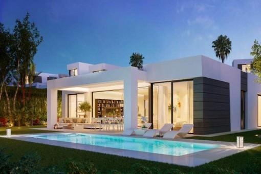 Villa mit Pool und beeindruckenden Meerblick am Cabopino Golfplatz in der Nähe von Marbella