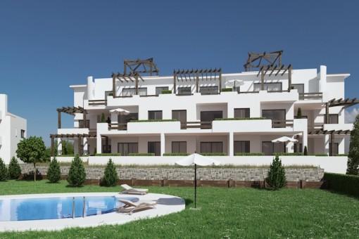 Tolles, neu gebautes Apartment mit 2 Schlafzimmern im Erdgeschoss mit Meerblick in Casares