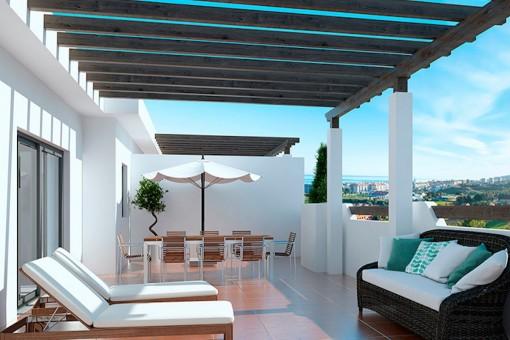 Neubau-Penthouse mit 2 Schlafzimmern und perfektem Meerblick in Casares