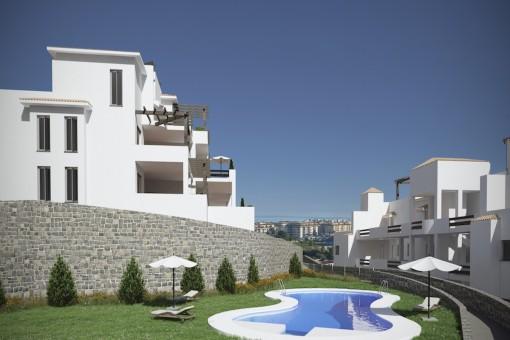 Tolles, neu gebautes Apartment mit 2 Schlafzimmern und Meerblick in Casares