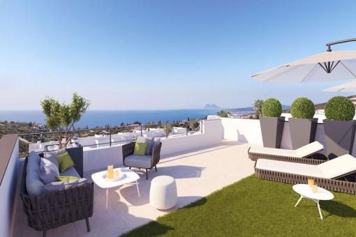 Bauprojekt: 2-Zimmer-Penthouse mit Meerblick und einer großen Sonnenterrasse in Manilva, in der Nähe von Sotogrande