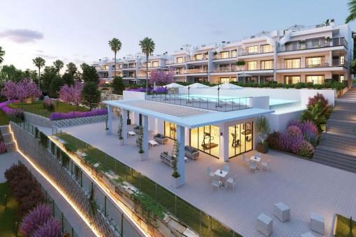 Bauprojekt: 2-Zimmer Erdgeschosswohnung mit Meerblick und privatem Garten in Manilva, in der Nähe von Sotogrande