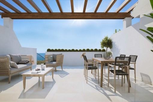 Fantastische Reihenhäuser in Benalmádena, Málaga mit großen Terrassen, privatem Garten und Meerblick
