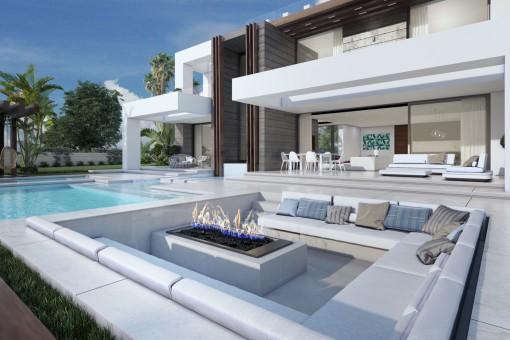 Atemberaubende, neue schlüsselfertige Villa mit Panoramablick auf das Meer in La Duquesa