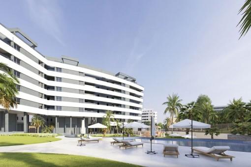Moderne Apartments und Penthäuser in einem Wohnkomplex in Málaga City, nahe der Universität von Málaga