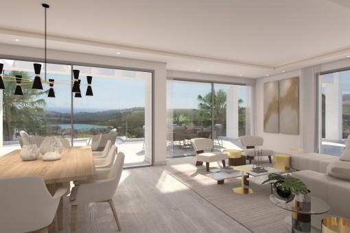Brandneues Apartment im mittleren Stockwerk mit Meerblick und privater Lagune in Casares