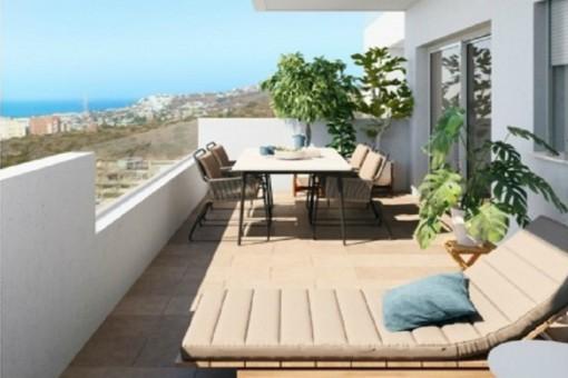 Terrasse mit offenem Meerblick
