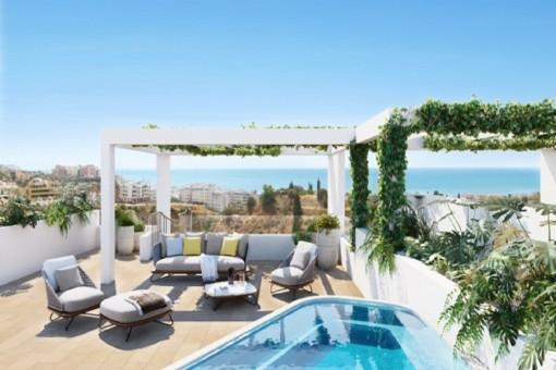 Großzügige Terrasse mit wunderschönem Meerblick