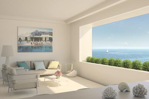 Atemberaubende Wohnung im mittleren Stockwerk am Strand mit Panoramablick auf das Meer in Estepona