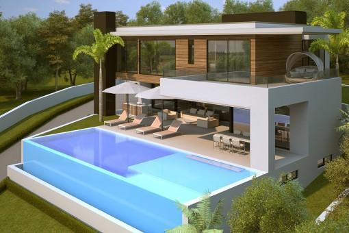 Wohngrundstück in bester Lage mit schlüsselfertigem Villenprojekt und Lizenz in Benahavís