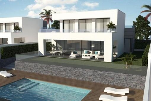 Schöne neue Familienvillen mit Meerblick und Annehmlichkeiten in der Nähe von La Duquesa