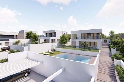 Bauprojekt: Brandneue Familienvilla mit Pool in Strandnähe in Manilva