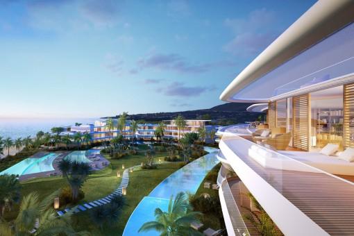 Atemberaubende Neubau-Wohnung direkt am Strand in einem gesicherten Komplex in Estepona