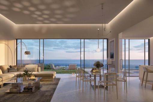 Neue Strandwohnung im mittleren Stockwerk mit Panoramablick in Estepona