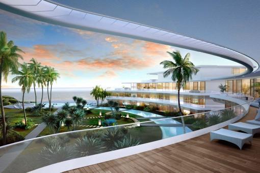 Atemberaubendes neues Penthouse mit Panoramablick auf das Meer in erster Meereslinie in Estepona