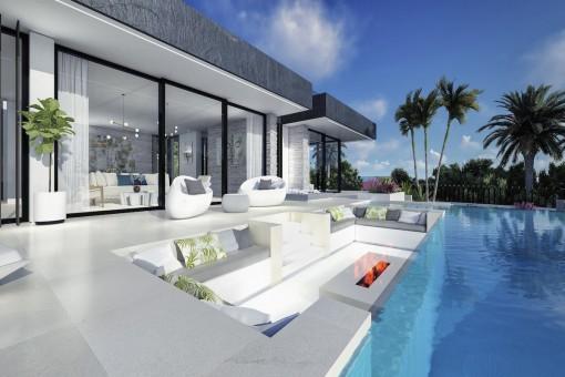 Gepflegter Poolbereich mit Loungebereich