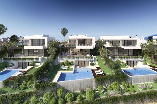 Skandinavische Designer-Villa als Bauprojekt mit 4 Schlafzimmern am Golfplatz in der Nähe aller Annehmlichkeiten in Estepona