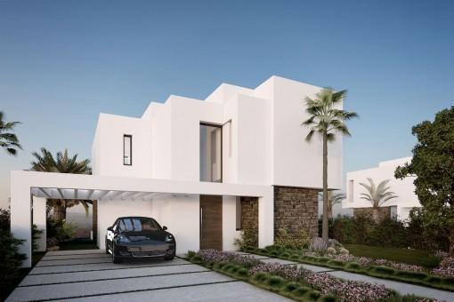 Nordische Designer-Villa als Bauprojekt mit 4 Schlafzimmern am Golfplatz in der Nähe aller Annehmlichkeiten in Estepona