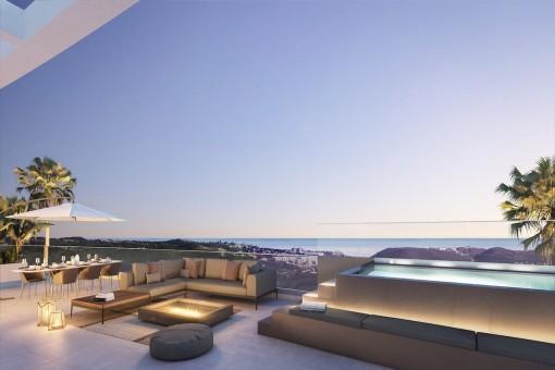 Großartige Wohnung als Bauprojekt mit herrlichem Blick über den Golfplatz und das Meer in Mijas Costa