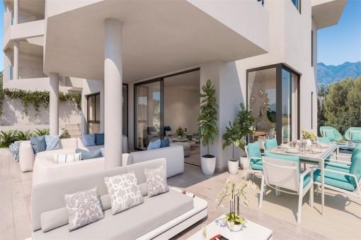 Bauprojekt: 2-Zimmer-Wohnung neben dem Golfplatz und sehr nahe am Strand in Mijas