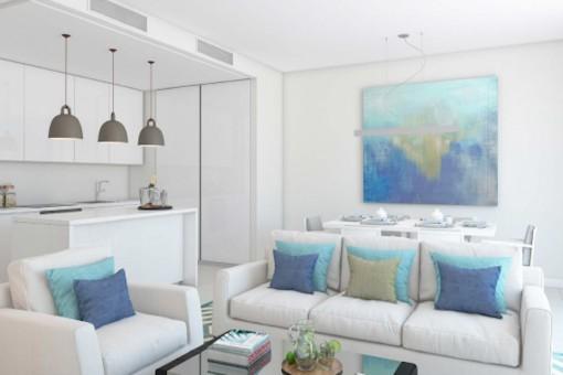 Lichtdurchfluteter Wohnbereich und offene Küche