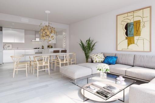 Moderner Wohn-und Essbereich